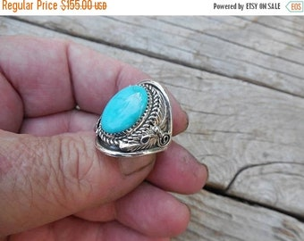 ON SALE turquoise ring handmade and signed  in sterling silver, by Lee McCray, a Navajo silversmith