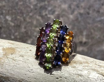 Vintage Sterling Silver Ring with Garnet, Amethyst, Peridot, and Citrine Size 6.25