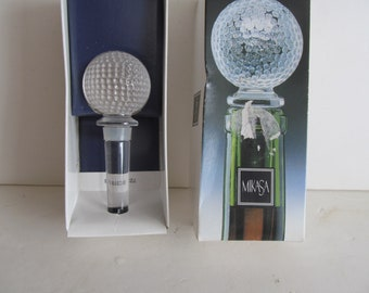 Vintage Mikasa Crystal Wine Glass Stopper Crystal Golf Ball Cake Topper Gift for Golfer Golfing Theme Party Golf gifts For Dad Lady Golfer