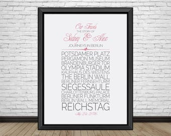 Personalized City Travel, Berlin, Travel Print, Berlin Sightseeing, Famous Places, Travel Destinations, Vacation, Honeymoon, Art Print