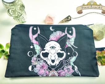 Twilight Zippered Pouch - Moon Floral - Cat Skull - Clutch bag Purse Wristlet - Cosmetic pencil - Bianca Loran Art