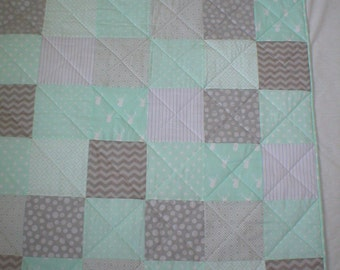 Lap Quilt - Baby Quilt -Mint Green and Gray Patchwork Quilt