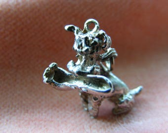 Vintage Sterling Silver Charm Poodle with a shoe in his mouth (naughty boy)