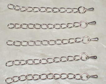 """Silver Plated Extenders With Teardrop End - 2"""""""