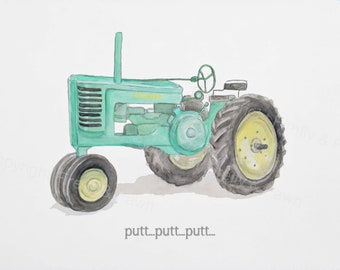 Watercolor Tractor Print // INSTANT DOWNLOAD // John Deere Tractor // Tractor Painting // Farm Decor // Farm Nursery Decor