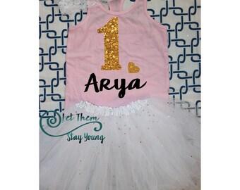 Customized First Birthday Shirt Tank Top Birthday Baby Girl Shirt Baby Girl Custom 1st Birthday Shirt Gold Glitter First Birth Day