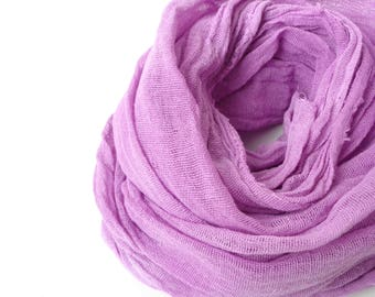 purple scarf, hand dyed purple  scarf purple cotton scarf,scarf for  women,gift for birthday