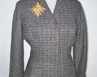 Vintage 40s Wool Skirt Suit Sz Large