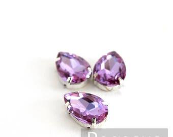 Wisteria Purple Glass crystal tear drop gems (9 color options) flatback jewel for costume jewelry,elven cosplay,wedding favors,dragon larp