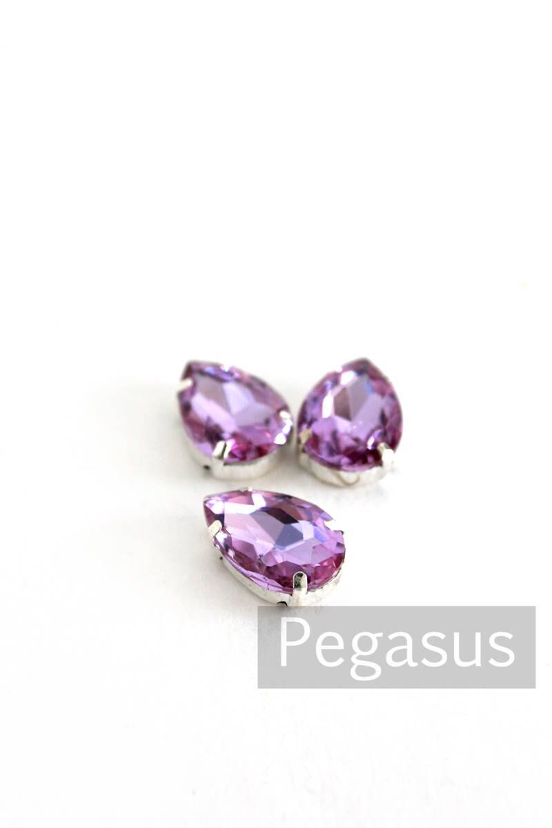 Wisteria Purple Glass crystal tear drop gems (9 color options ...