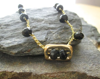 crocheted necklace with black onyx stones and gold plated element, Christmas gift, holiday sale