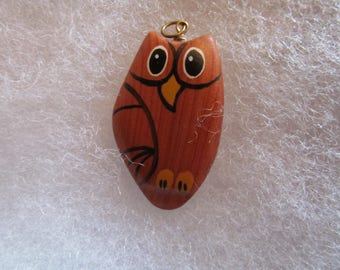 Owl (natural wood) Pendant - handcarved and handpainted