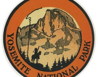 Vintage Style  Yosemite National Park  round California Travel Decal sticker