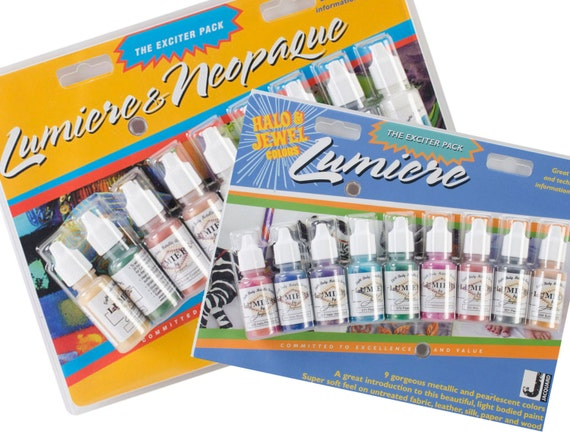 Jacquard Lumiere/Neopaque Exciter AND Lumiere Exciter Halo & Jewels Pack squeeze bottles acrylic paint perfect for controlled application