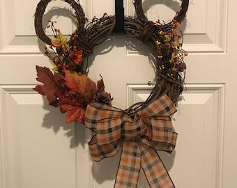 Custom Mickey Shaped Wreath - Disney Wreath- Holiday Wreath- Grapevine Wreath - Small size