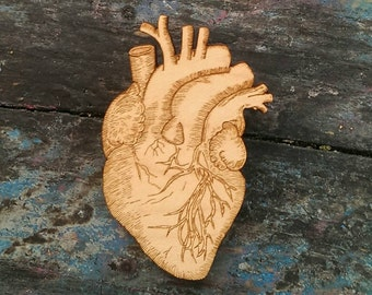 Anatomical Heart, Anatomy, laser cut wood, original illustration, wooden Brooch