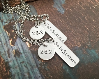 Sole Sisters Running Jewelry Runners Necklace Personalized for Marathon Half Marathon Ultra or any Distance Great Gifts for Runners
