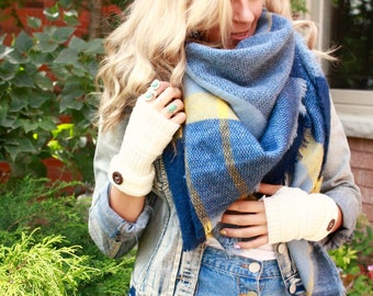 Mustard Denim Plaid Blanket Scarf, Winter scarf, Blanket scarf, Plaid Scarf, Bridesmaid Scarf, scarves, best selling items, gift for her