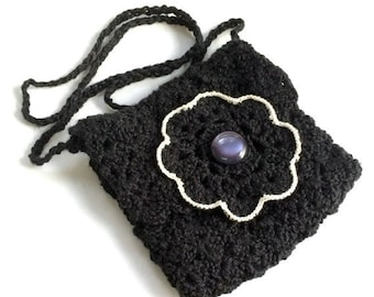 Black Evening Bag, Crochet Black Small Purse, Black Flower Purse - Free Shipping Domestic
