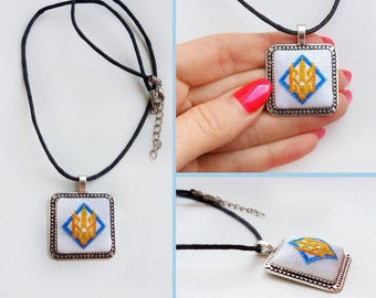 Micro embroidery Embroidered tryzub of Necklace Pendant,  Ukrainian gift , Hand Embroidery,Gift for women, embroidered  jewelry