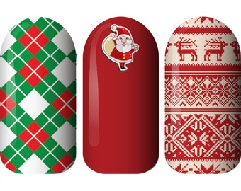 Father Christmas Nail Wraps Christmas Nail Art, Non Toxic Nail Stickers Made in Australia. Christmas Gifts