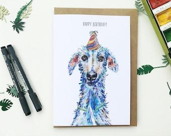 hairy lurcher card, A5 card, dog birthday card, Birthday card, dog card, lurcher card, dog gift, lurcher gift, dog present, sighthound card,
