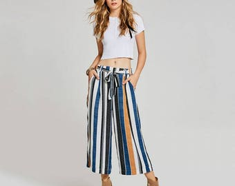 Autumn Stripe Lace Up Wide Leg Ankle Length Pants