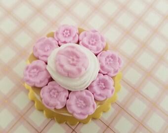 flower cake, miniature cake, clay food, dollhouse food
