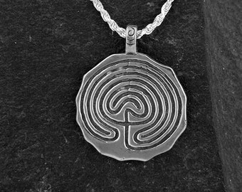 Sterling Silver Large Indian Maze Pendant on a Sterling Silver Chain