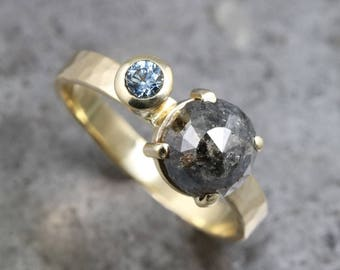 Two Stone Ring with Black Rose Cut Diamond and Blue Montana Sapphire - Hammered 14k Yellow Gold Gemstone Gold Band for Women - READY TO SHIP
