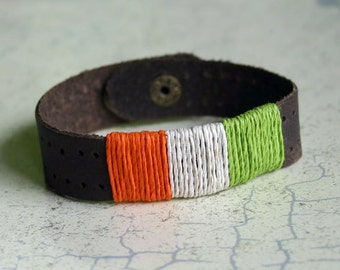 Leather Surfer Bracelet With Irish Flag