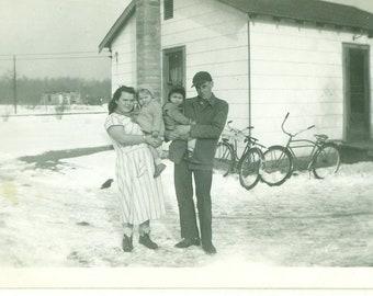 1940s Midwestern Farm Family Parents Toddlers Winter Snow Bike House 40s Vintage Photograph Black White Photo