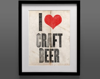 I Heart Craft Beer Instant Download Poster, 11x14 Print