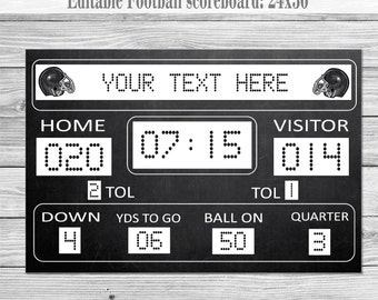 DIY Football Birthday Printable Scoreboard 24x36: Digital File, Instant download