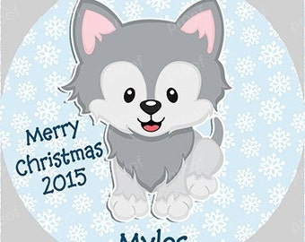 Wolf Personalized Christmas Ornament Acrylic Snowflake or Round First Christmas