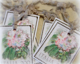 Italy postage stamp gift tags, set of 8, dusting of glitter, silver shabby ribbon