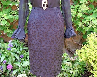 Wiggle On Out-50s 60s Black Brocade Floral Wiggle Pencil Skirt