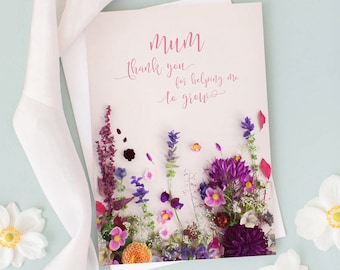 Floral Card for Mum | Mothers Day Card | Card for Mom | Thank You For Helping Me To Grow