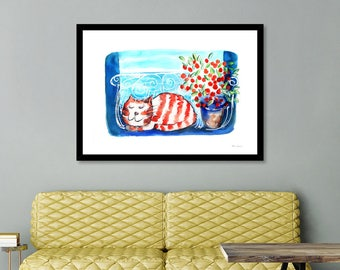 Ginger Cat Print Tabby Cat Ginger Cat Cat lovers  Cute Cat Art Print kawaii  cat artwork cat decor cat gifts Cat Lovers, Cheshire Cat