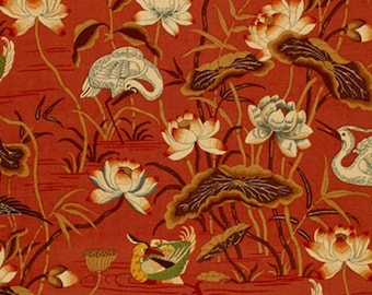 Lotus Garden Chinoiserie Fabric Asian Bird Print Drapes Schumacher Curtains Lacquer Red Custom Curtains Lined Panels Pinch Pleat Drapes