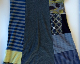 Patchwork T-shirt Skirt Size M made from Repurposed Clothing Gray Blue with Drawstring