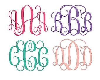 Pes Embroidery File, PES Interlocking Vine Monogram Font, PES Interlocking Monogram for EMBROIDERY Only