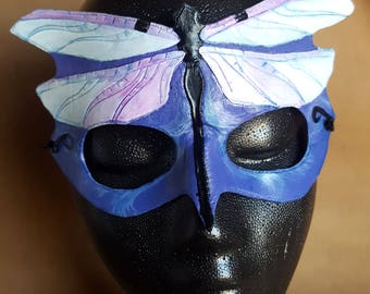 READY TO SHIP Dragonfly Mask - Purple and Blue Pastel Hand Tooled and Hand Painted Leather Mask - Art Nouveau Inspired Art Mask