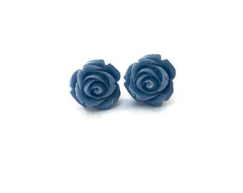 Blue Rose Earrings, Medium Size, Resin Flower Studs, Vintage Style, Retro, Rockabilly, Pinup, Floral, Feminine