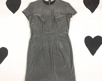 90's super cyber stretch silver mini dress 1990's minimal bodycon Tshirt dress / space age / raver / club kid / shimmery / Y2K / size M