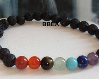 Bracelet 7 chakras, lava stones and gemstones for karma cleansing and realigning beads 6mm
