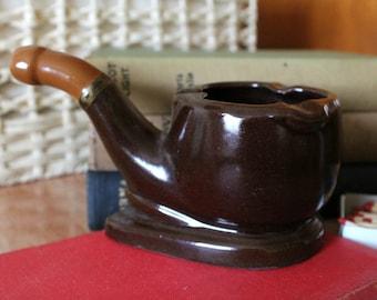Large Brown Glazed Ceramic Pipe Shaped Ashtray. 1960s Kitsch Tobacciana. Novelty Ashtray. Pipe Smoker's Gift. Bar Decor.