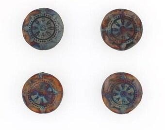 Mat d'en céramique Raku multicolore Dharma roue perles, Lot de 4