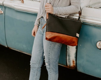 Alsea Crossbody in two tone leather by Meant Mfg.