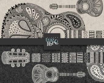 ZENTANGLE DIGITAL PAPER: guitar, mandala clipart, instrument clipart, zentangle clipart, digital clipart, zentangle, clipart guitar,
